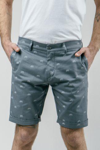 graue Herren Shorts mit kleinen weißen Fahrrädern als all over print